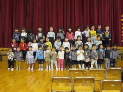 ひよこ組といちご組の歌の発表は「世界中の子ども達が」でした。