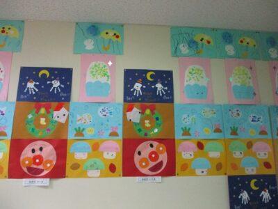 入り口に飾られた、満3才いちご組の月ごとの製作です。