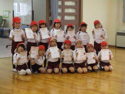 お家でも、幼稚園でも練習いっぱいがんばったね。おめでとう!